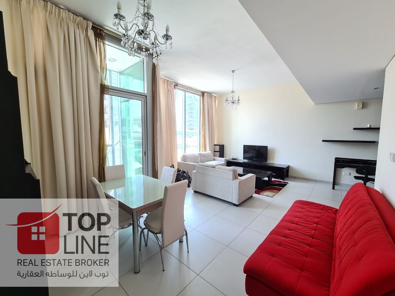 Fully Furnished 1BR | Partial Sea View | Bright