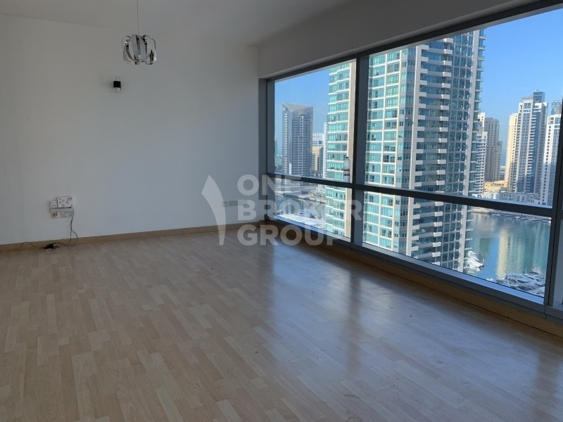 High floor,  marina view, unfurnished ,plus maids