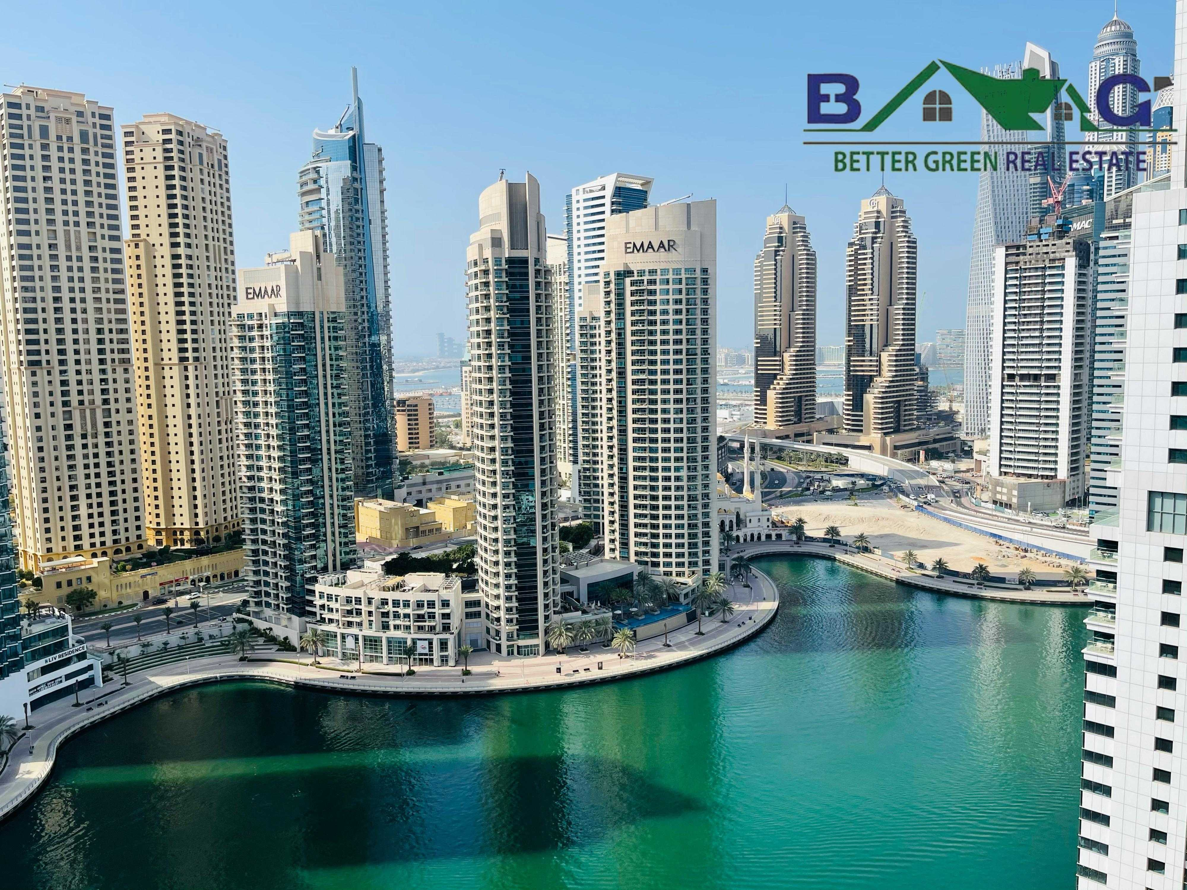 Full Marina View Fully Furnished 1 BR with Balcony Vacant  High Floor
