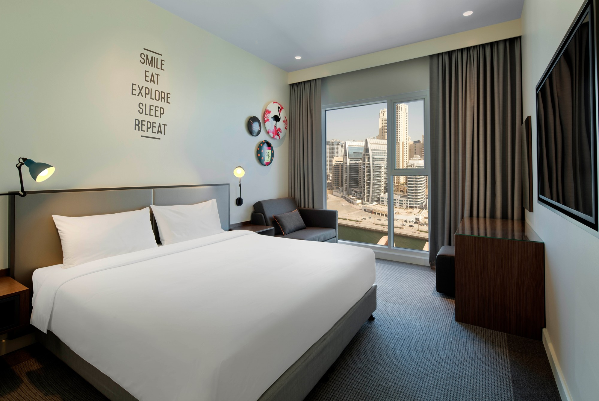 Modern Serviced Hotel Room with Dubai Marina View