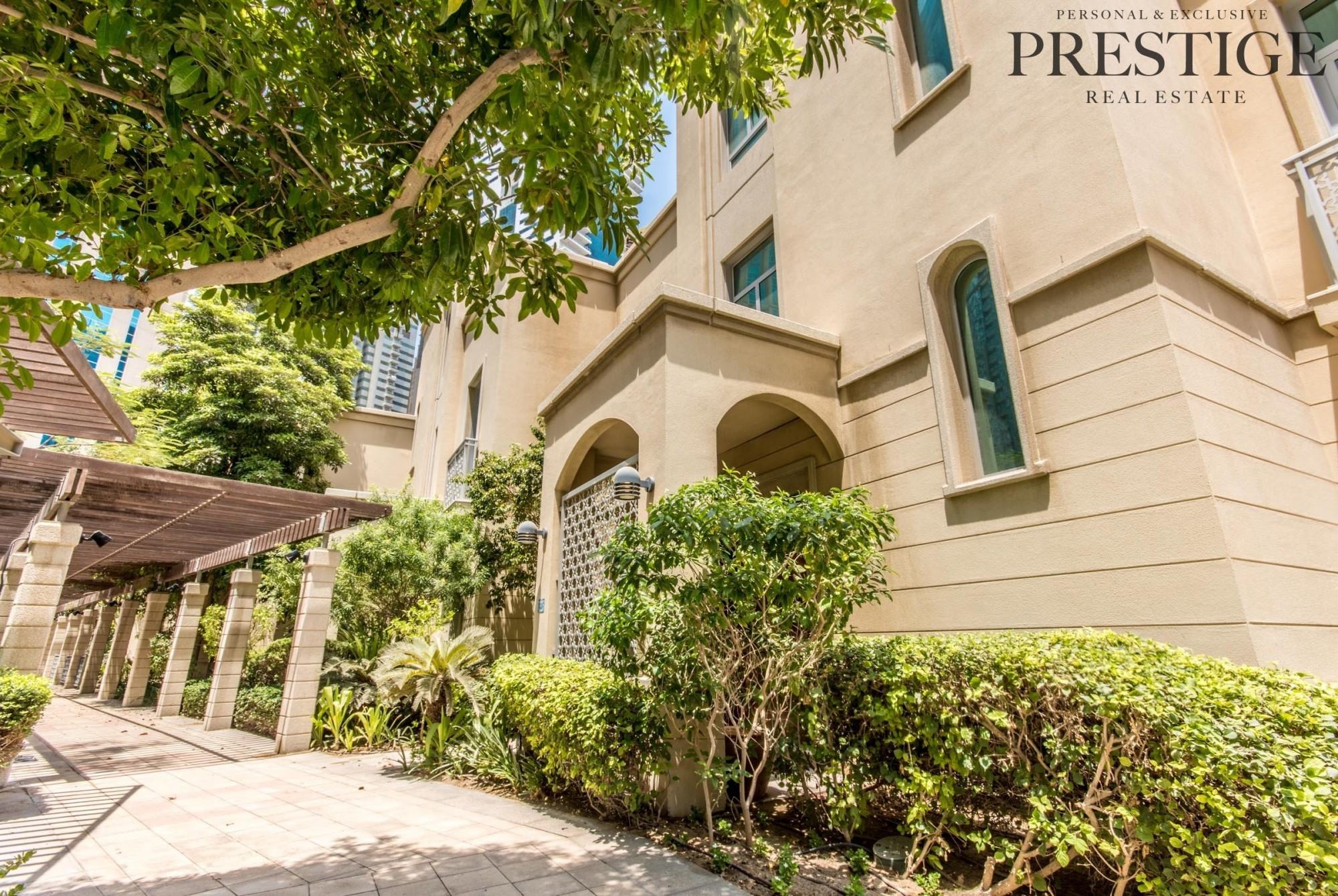 4 Bed Villa | Unfurnished |  Garden View | Dubai Marina